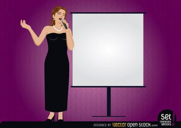 Cantora com uma tela de apresentação