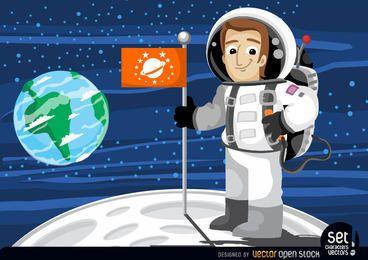 Astronaut mit Fahne im Mond