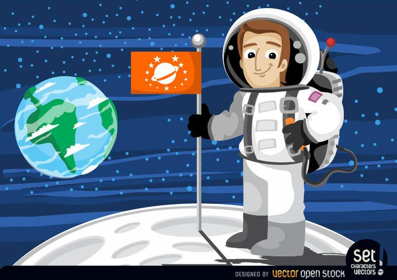 Astronaut with flag in the moon
