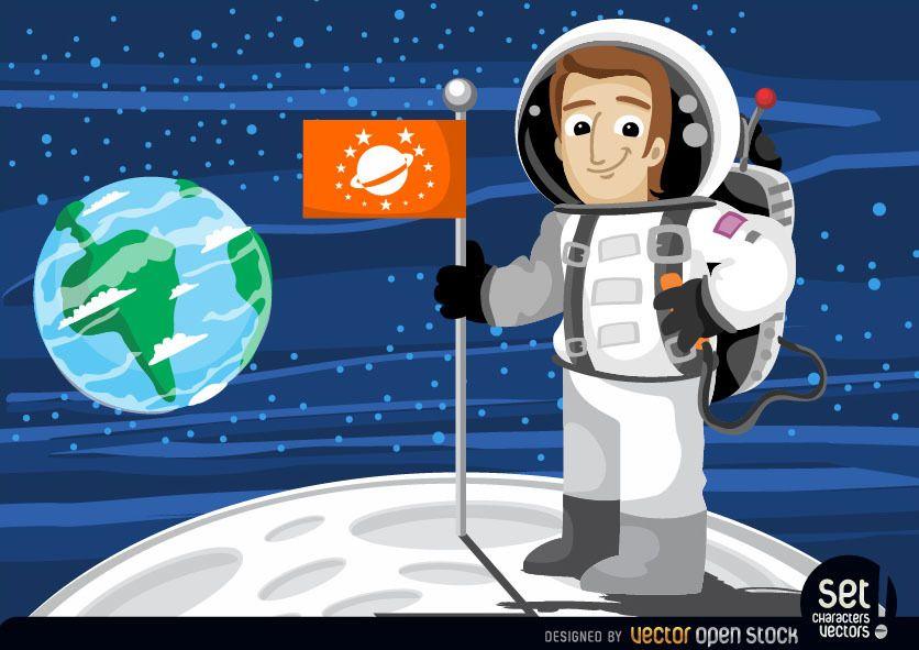 Astronauta con bandera en la luna.