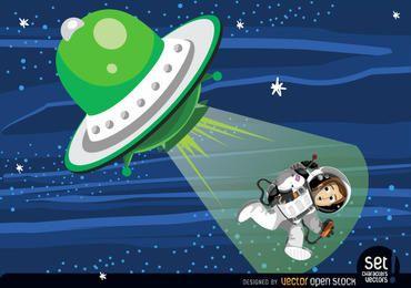 Astronautenentführung aus fliegender Untertasse