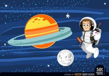Astronauta flutuando no espaço sideral