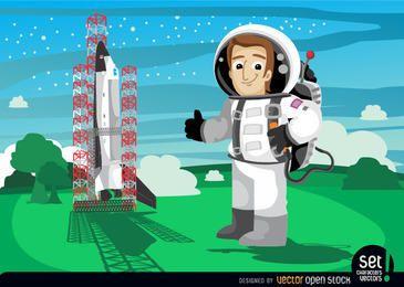 astronauta ao lado de lançamento de ônibus espacial