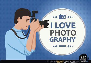O fotógrafo ama sua profissão