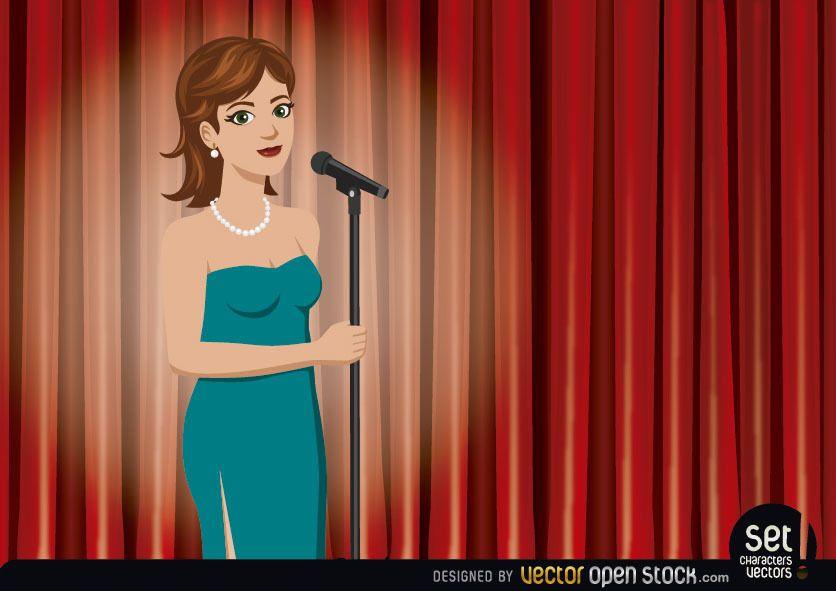 Cantora se apresentando em um teatro