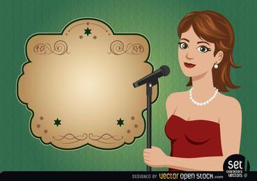 Jovem cantora com mensagem de anúncio