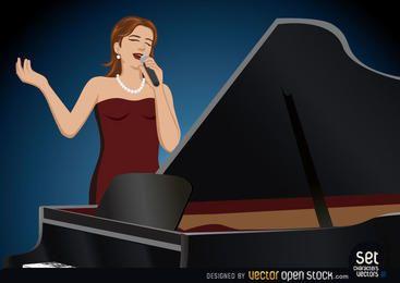 Mädchen-Sänger, der hinter einem Klavier durchführt