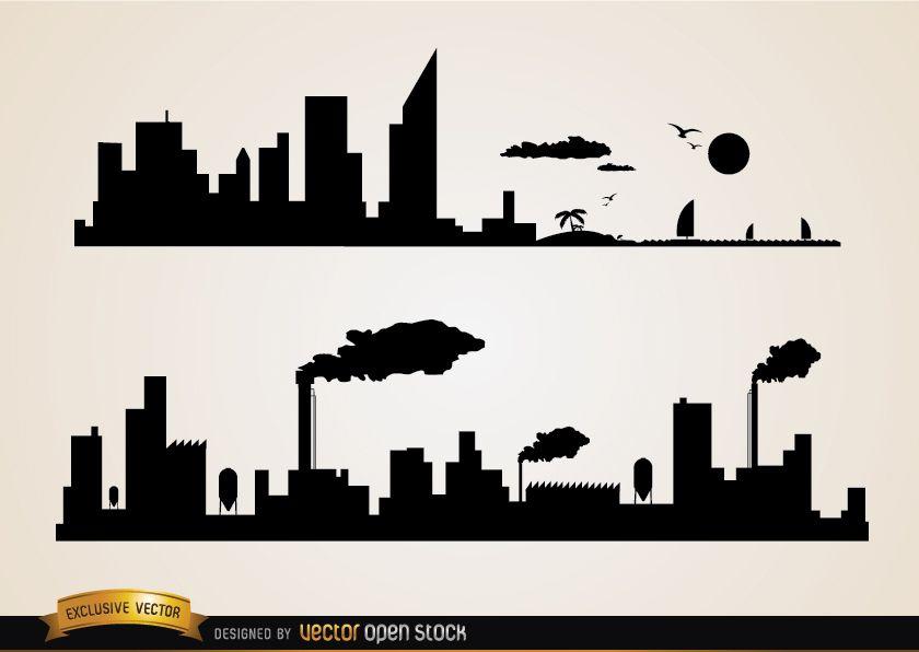 Skyline ciudades playa e industrias