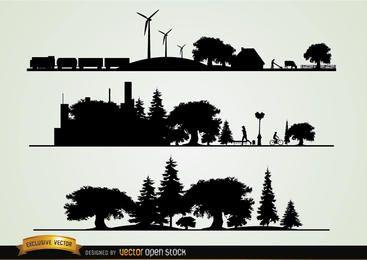 Paisajes urbanos y paisajes.
