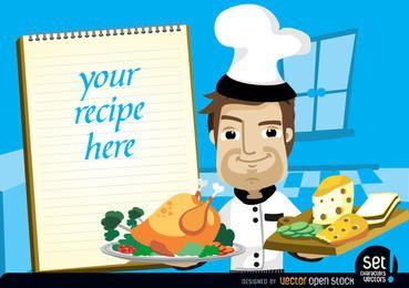 Chef com frango, queijo e receita nota