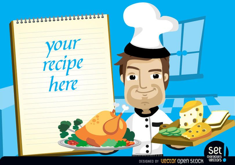 Chef con pollo, queso y nota de receta