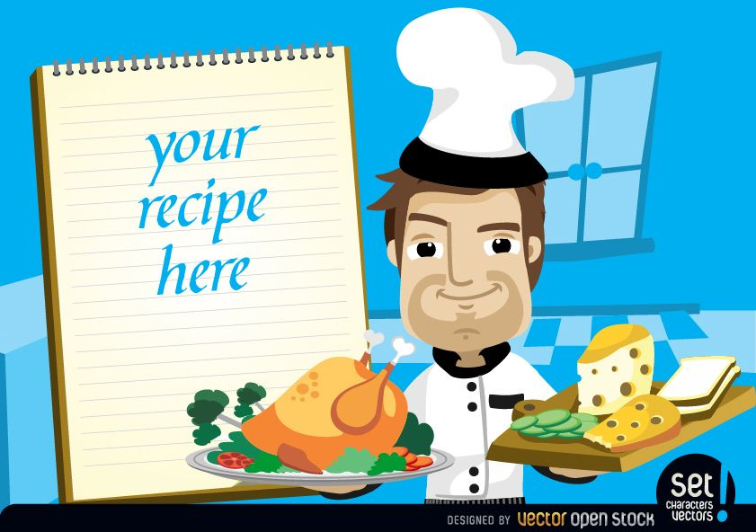 Chef with chicken cheese and recipe note