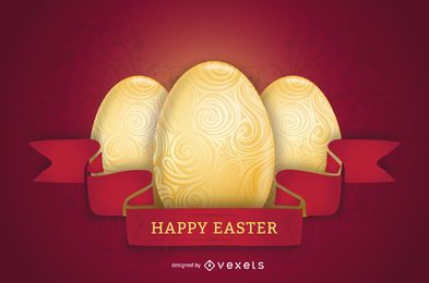 Cartel rojo brillante temático de Pascua
