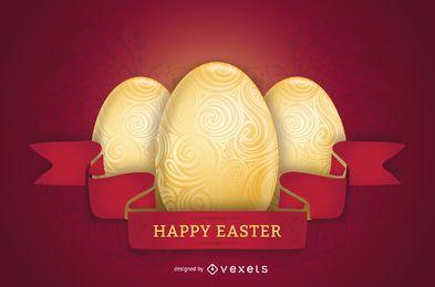 Poster vermelho brilhante temático de Easter