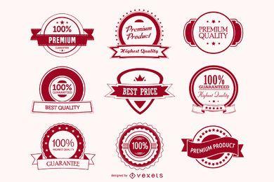 Paquete de insignias rojas conceptuales con clase
