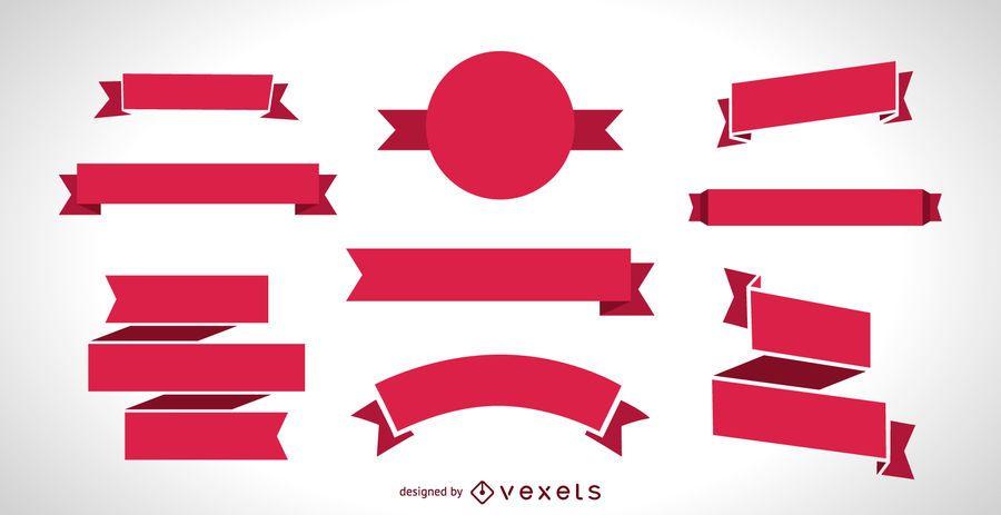 Conjunto de banner de cinta roja plana