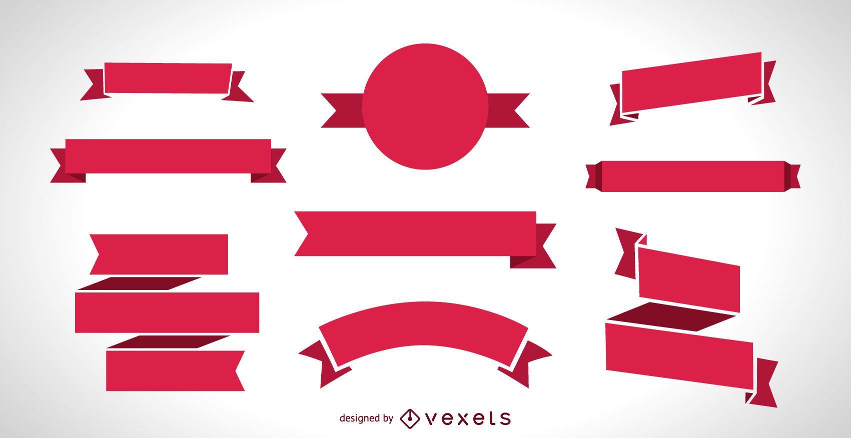 Flat Red Ribbon Banner Set