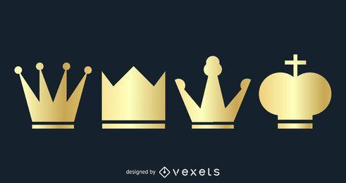 4 goldene Kronen im flachen Stil