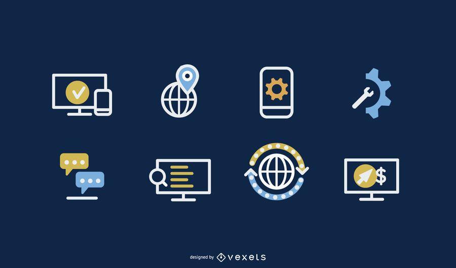 Paquete de iconos de diseño web delineado
