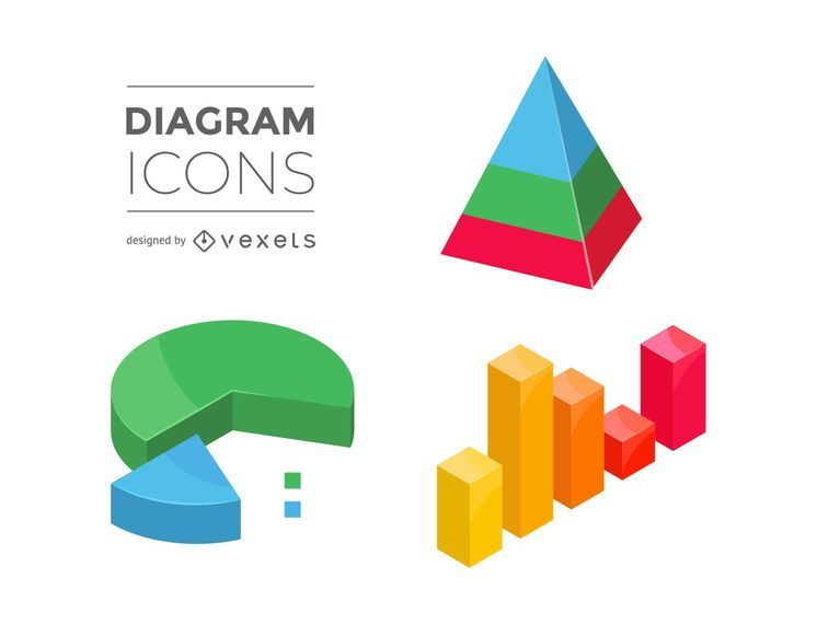 Clean 3D Diagram Icons