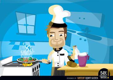Chef de cocina en la cocina