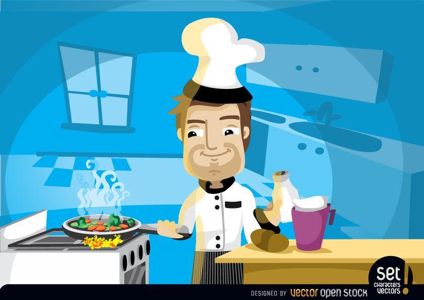 Chefkoch der in der Küche kocht