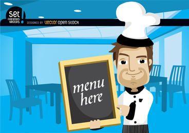 Chef mostrando cardápio em um restaurante