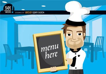 Chef mostrando el menú en un restaurante
