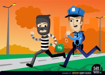 Policías que cogen un ladrón de bancos
