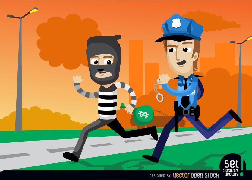 Policemen Catching a Bank Robber