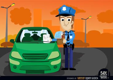 Oficial de tráfico multa un coche