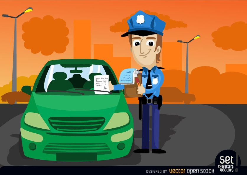 Oficial de tránsito multa un auto