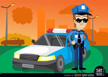 Policial com seu carro de policial