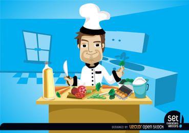 Chef cozinhando na mesa da cozinha