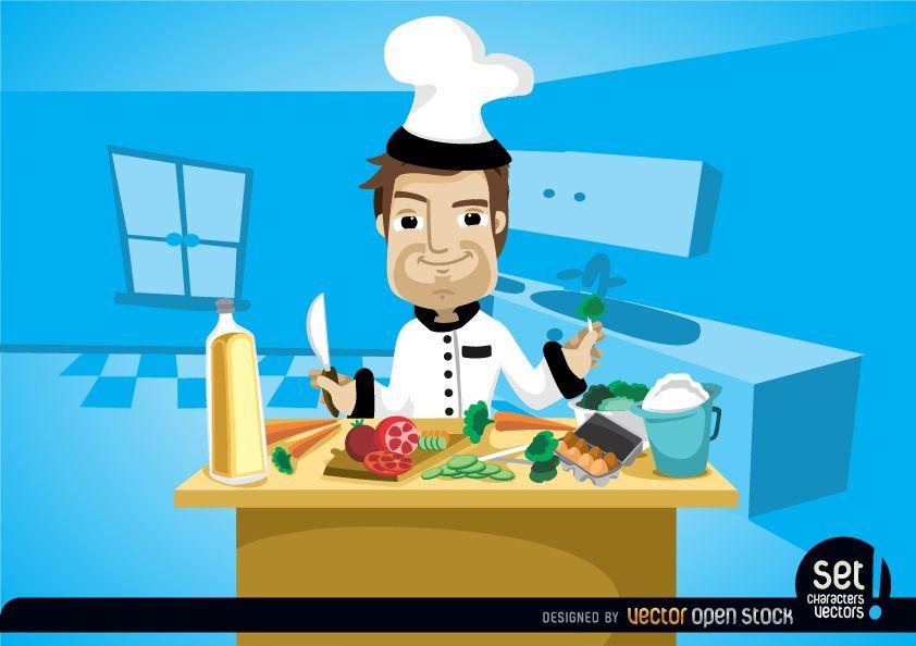 Chef cocinando en la mesa de la cocina
