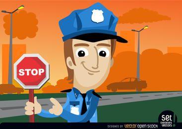 Policía con la advertencia de parada