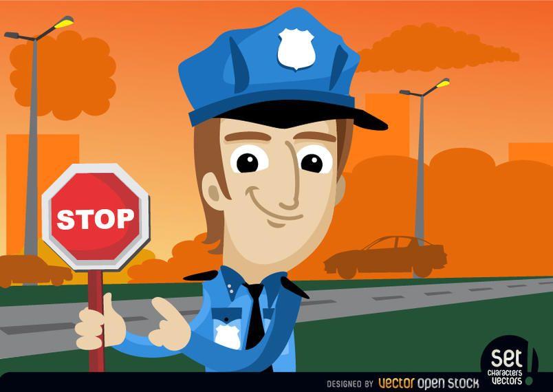 Policía con advertencia de parada.
