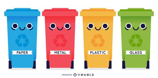 4 contenedores de contenedores de reciclaje funky