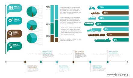 Paquete de elementos de infografía colorida en estilo plano