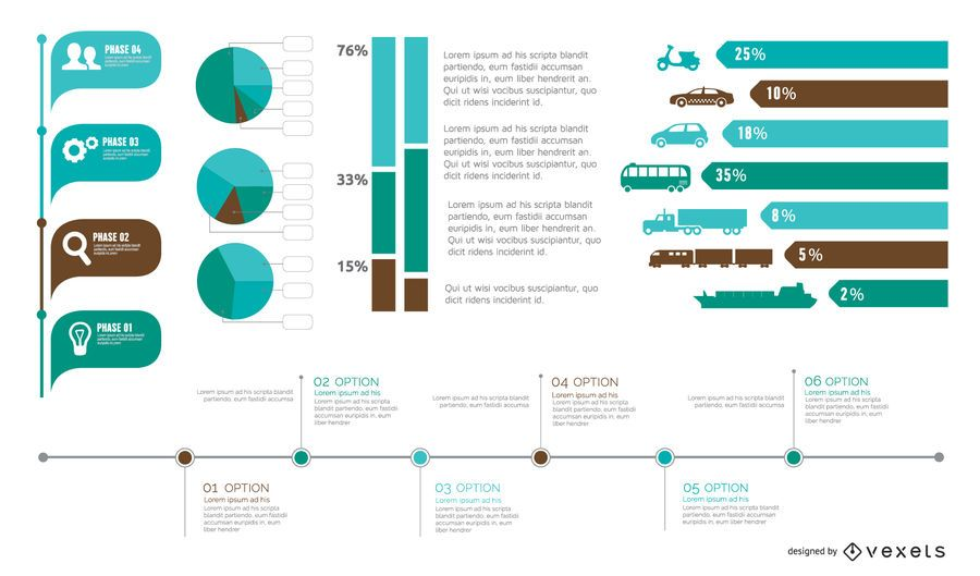 Pacote de elemento colorido infográfico em estilo simples
