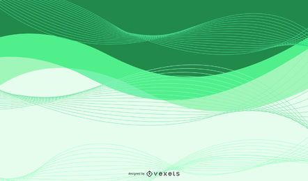 Fondo verde abstracto con líneas espirales