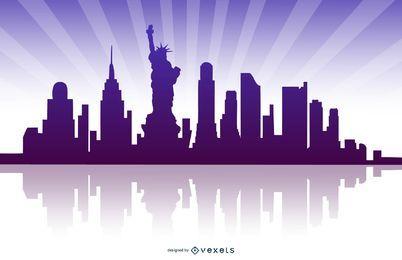 Skyline de Nova Iorque refletida