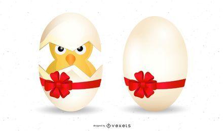 Huevo roto con pollito dentro