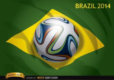 Bandera de Brasil 2014 con fútbol oficial