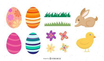 Conjunto de elementos decorativos de Pascua