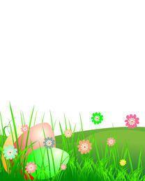 Paisaje de pascua con hierba y flor