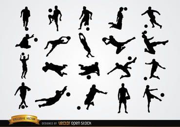 20 silhuetas de jogadores de futebol