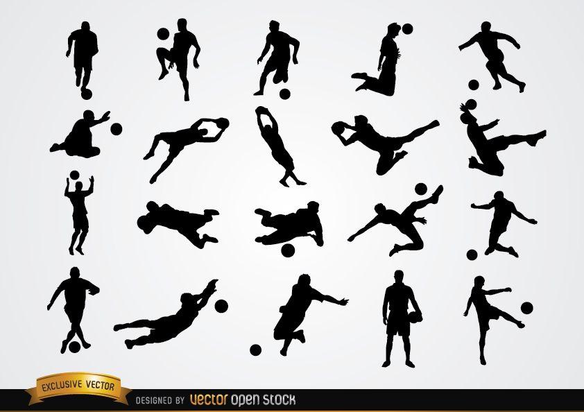 20 Fußballspieler-Silhouetten