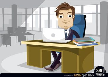 Businessman working at the office with laptop