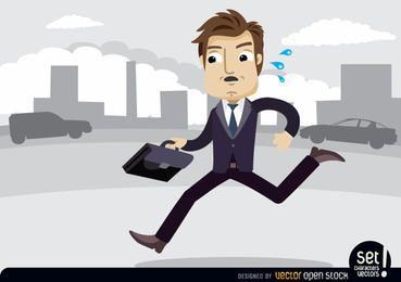 Executivo com maleta com pressa
